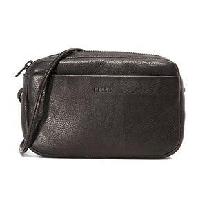 BAGGU Black Leather Mini Crossbody Purse Bag